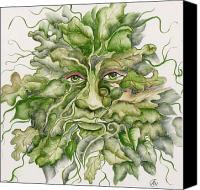 Tile Ceramics Canvas Prints - The Green Man Canvas Print by Angelina Whittaker Cook
