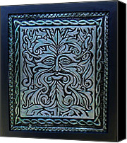 Green Reliefs Canvas Prints - The Green Man Canvas Print by Cacaio Tavares