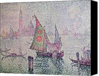 Signac Canvas Prints - The Green Sail Canvas Print by Paul Signac