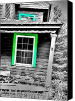 Old Houses Canvas Prints - The Green Window Canvas Print by Emily Stauring