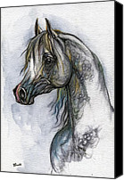 Horse Drawings Canvas Prints - The Grey Arabian Horse 10 Canvas Print by Angel  Tarantella