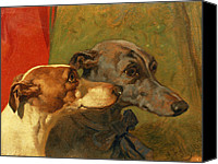 Greyhound Canvas Prints - The Greyhounds Charley and Jimmy in an Interior Canvas Print by John Frederick Herring Snr