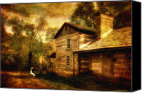 Old Cabins Canvas Prints - The Guardian Canvas Print by Lois Bryan
