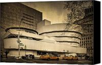 Nyc Photo Canvas Prints - The Guggenheim Canvas Print by Evelina Kremsdorf