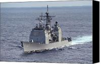 Frigate Canvas Prints - The Guided Missile Cruiser Uss Cowpens Canvas Print by Stocktrek Images