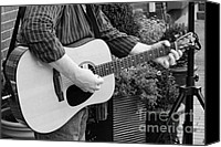 Strum Canvas Prints - The Guitar Player in Black and White Canvas Print by Paul Ward