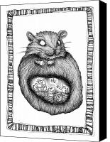 Creepy Drawings Canvas Prints - The Hampster and The Black Bird Diner Canvas Print by Zelde Grimm