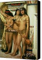 Orientalist Canvas Prints - The Handmaidens of Pharaoh Canvas Print by John Collier
