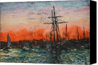 San Diego Mixed Media Canvas Prints - The Harbor Canvas Print by Suzanne  Frie