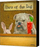 Humor. Painting Canvas Prints - The hare of the dog...the bullgog... Canvas Print by Will Bullas