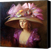 Hat Canvas Prints - The Hat Canvas Print by Loretta Fasan