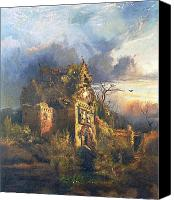 Ruin Painting Canvas Prints - The Haunted House Canvas Print by Thomas Moran