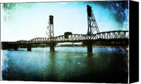Oregon Art Canvas Prints - The Hawthorne Bridge Canvas Print by Cathie Tyler