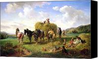 Country Scenes Painting Canvas Prints - The Hay Harvest Canvas Print by Hermann Kauffmann