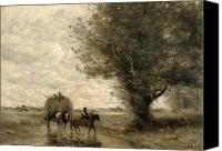 Country Scenes Painting Canvas Prints - The Haycart Canvas Print by Jean Baptiste Camille Corot