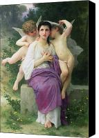 Cherub Canvas Prints - The Hearts Awakening Canvas Print by William Adolphe Bouguereau