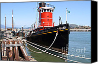 Hyde Street Pier Canvas Prints - The Hercules . A 1907 Steam Tug Boat At The Hyde Street Pier in San Francisco California . 7D14137 Canvas Print by Wingsdomain Art and Photography