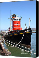 Hyde Street Pier Canvas Prints - The Hercules . A 1907 Steam Tug Boat At The Hyde Street Pier in San Francisco California . 7D14138 Canvas Print by Wingsdomain Art and Photography