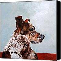 Dog Painting Canvas Prints - The Herding Dog Canvas Print by Enzie Shahmiri