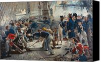 Fighting Canvas Prints - The Hero of Trafalgar Canvas Print by William Heysham Overend