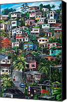 Houses Canvas Prints - THE HILL     Trinidad  Canvas Print by Karin Best