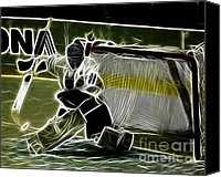 Hockey Canvas Prints - The Hockey Goalie Canvas Print by Bob Christopher