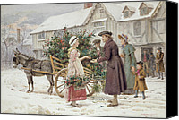 Donkey Painting Canvas Prints - The Holly Cart Canvas Print by George Goodwin Kilburne