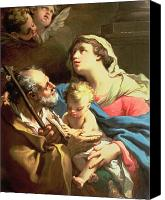 Mother Of God Canvas Prints - The Holy Family Canvas Print by Gaetano Gandolfi