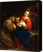 Crib Painting Canvas Prints - The Holy Family with Saint Francis Canvas Print by Jacob van Oost