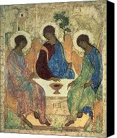 Icon Painting Canvas Prints - The Holy Trinity Canvas Print by Andrei Rublev