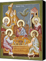 Icon Byzantine Canvas Prints - The Holy Trinity Canvas Print by Julia Bridget Hayes