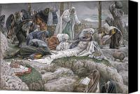 Crying Canvas Prints - The Holy Virgin Receives the Body of Jesus Canvas Print by Tissot