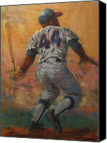 Baseball Drawings Canvas Prints - The Homerun King Canvas Print by Tom Forgione