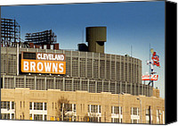 Cleveland Stadium Canvas Prints - The Hometeams in Color Canvas Print by Kenneth Krolikowski