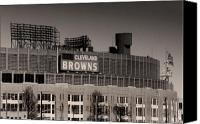 Cleveland Stadium Canvas Prints - The Hometeams Canvas Print by Kenneth Krolikowski