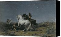Starry Canvas Prints - The Horse Thieves Canvas Print by Ferdinand Victor Eugene Delacroix