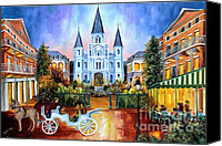 Landscape Painting Canvas Prints - The Hours on Jackson Square Canvas Print by Diane Millsap