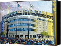 Babe Ruth Painting Canvas Prints - The House That Steinbrenner Wrecked Opening Day  Canvas Print by Gregg Hinlicky