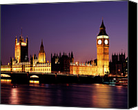 Politics Photo Canvas Prints - The Houses Of Parliament At Night, London Canvas Print by Lothar Schulz