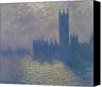 Stormy Canvas Prints - The Houses of Parliament Stormy Sky Canvas Print by Claude Monet