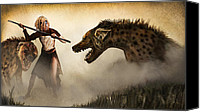 Desert Digital Art Canvas Prints - The Hyaenodons - Allies Battle Canvas Print by Mandem  