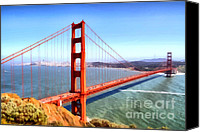 Structural Canvas Prints - The Iconic San Francisco Golden Gate Bridge . 7D14507 Canvas Print by Wingsdomain Art and Photography