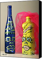 Bottles Sculpture Canvas Prints - The In-Laws Canvas Print by Wolfgang Karl