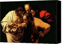 Oil On Canvas Canvas Prints - The Incredulity of Saint Thomas Canvas Print by Caravaggio