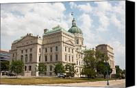 Statehouse Canvas Prints - The Indiana Statehouse Canvas Print by Semmick Photo