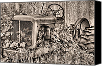 Red Tractors Canvas Prints - The Ivy League BW Canvas Print by JC Findley