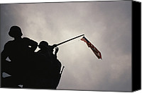 War Monuments And Shrines Canvas Prints - The Iwo Jima Memorial Silhouetted Canvas Print by Raul Touzon