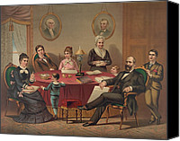 First Family Canvas Prints - The James Garfield Family In 1880 Canvas Print by Everett