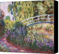 Monet Painting Canvas Prints - The Japanese Bridge Canvas Print by Claude Monet