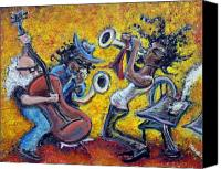 Sax Art Painting Canvas Prints - The Jazz Trio Canvas Print by Jason Gluskin